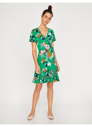 Koton V Yaka Çiçekli Midi Elbise Yeşil